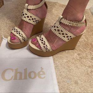 Chloe Pierced Wedge Sandal-Ivory 7.5